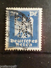 ALLEMAGNE EMPIRE GERMANY 1924, timbre perforé 351 oblitéré, PERFIN STAMP