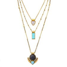 Women's Semi-precious Turquoise Black Stone Capri Three-Row Convertible Necklace