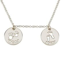 Footprint & Handprint Necklace - Sterling Silver Personalized Mom Necklace