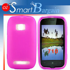 New PINK Soft Gel TPU Cover Case For NOKIA Lumia 710 + Screen Protector