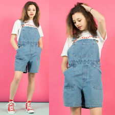 WOMENS VINTAGE 90'S ADJUSTABLE FADED BLUE DENIM SHORT DUNGAREES ROMPER 14