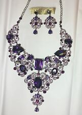 PURPLE CRYSTAL RHINESTONE VENETIAN BIB NECKLACE EARRINGS SET COSTUME BURLESQUE