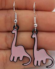 925 Silver Plated Hook - 2'' Pink Dinosaur Diplodocus Oil Painted Earrings #02