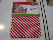 "New Holiday Gift Bicycle Bike Bag Giant Plastic 80"" x18""x39"" Red / White Color L"