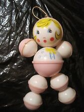Vintage 1950's PINK BABY GIRL Celluloid CRIB TOY HANGING Stretch Elastic Bells