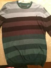 HURLEY mens engine cotton long sleeve striped sweater size large
