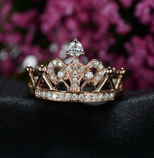 Vintage Crown Style Real Solid 14K Rose Gold Women Engagement Ring Crown Ring