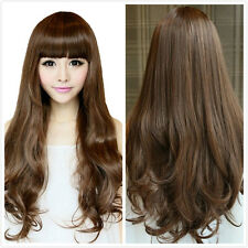 Women's  Long Curly Fluffy Full Hair With Bangs Brown Cosplay Costume Wigs+ Cap