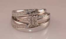 His And Her's Diamond & White Gold Trio  Wedding  Set/Engagement Ring Jewlery