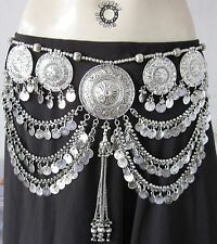 Bellydance Costume Skirt Hip Scarf Tribal Fusion Coin BELT Festival Boho Fashion