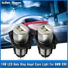 2x10W Angel Eyes LED Lights Ring Bulb White Halo For BMW E90 E91 3 Series 6000K
