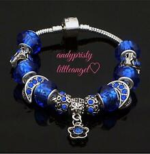 Handmade Europeo 925 Sterling Silver Plated Bracciale con Charm W / Blu Perline in Metallo