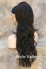 Long DARK BROWN Ponytail Hairpiece XL Wavy Claw Clip on in Extension Hair Piece