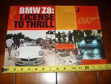 BMW Z8 JAMES BOND 007 THE WORLD IS NOT ENOUGH ***ORIGINAL 1999 ARTICLE***