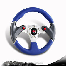 JDM 6-Holed 320mm Blue PVC Leather Racing Steering Wheel Nos Button For HONDA
