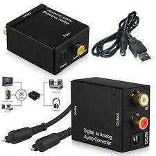 Digital Óptico Coaxial Cable Toslink a audio analógico RCA Adaptador Convertidor R/L