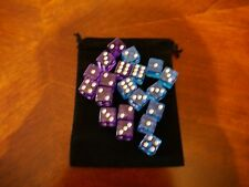 NEW 10 Purple and Blue Yathzee Gaming Dice Set 16mm D6 Free Bag Great Quality