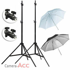 2x Adjustable Light Stand + 2x Flash Mount Bracket + Soft & Reflective Umbrella