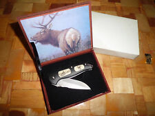 Jaguar Elk Commemorative 440 Stainless Steel Knife w/ Case made in China
