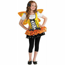Butterfly Costume Girl M 8-10 Child Fairy Orange Yellow Wings Monarch