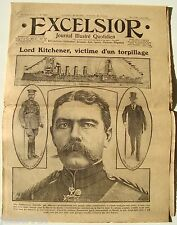 EXCELSIOR n°2031 ¤ 07/06/1916 ¤ LORD KITCHENER VICTIME D'UN TORPILLAGE