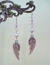 Vintage Silver 3D Guardian Angel Wing Rose & White Pearl Retro Drop Earrings