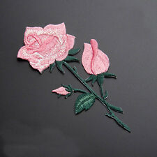 Rose Flower Iron On Embroidered Applique Patch 10.5x5cm