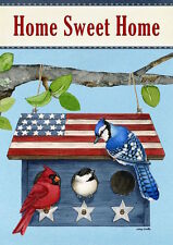 "FM58 PATRIOTIC LIVING BIRDS AT BIRDHOUSE SUMMER 12""x18"" GARDEN FLAG BANNER"