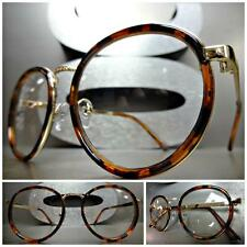 CLASSIC VINTAGE Style Clear Lens EYE GLASSES Small Round Tortoise & Gold Frame