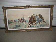 MAXI Ölgemälde signiert,Zaren-Rennen,Sibirien Landschaft und Pferde=154 X 66 cm