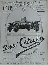 PUBLICITE AUTOMOBILE ANDRE CITROEN 10 HP TORPEDO 7.950 FRS DE 1919 FRENCH AD CAR
