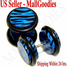 1247 Fake Cheaters Illusion Faux Ear Plugs 16G Blue Zebra Stripes Print 00G 10mm
