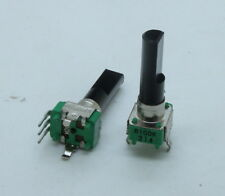 2 x 9mm Alpha B100K 100K Linear Taper Potentiometer 23mm D Shaft PC Mount