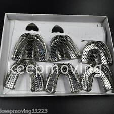 6 Pcs/Box Upper Lower Dental Autoclavable Metal Impression Trays STAINLESS STEEL