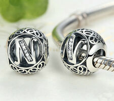 hot letters N European Silver CZ Charm Beads Fit sterling 925 Bracelet Chain #2