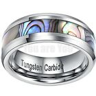 Mens Tungsten Ring With Abalone Shell Inlay Wedding Band Engagement Gift