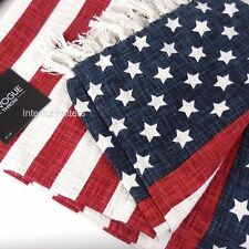 ENVOGUE Throw Blanket AMERICAN FLAG Red White Navy Blue Fringed New