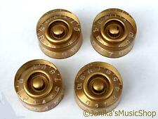 4 gold LP speed style knobs for electric guitar volume tone splined - UK seller