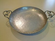 FARBERWARE HAND WROUGHT ALUMINUM HAMMERED SERVING TRAY BOWL FLOWERS 13-1/2""