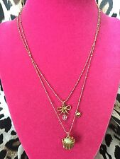 Betsey Johnson Vintage Tea Party Cupcake Dessert Sweet Bow Necklace VERY RARE
