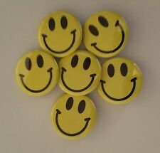 """Lot of 6 1.25"""" Smiley Face Pinback Buttons Badges (Approx. 32mm)"""