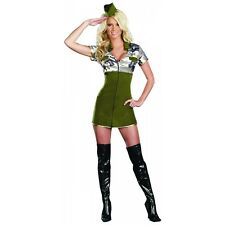 SEXY HOT WOMEN'S ARMY GENERAL MILITARY HALLOWEEN COSTUME DRESS & GLASSES SM 2-6