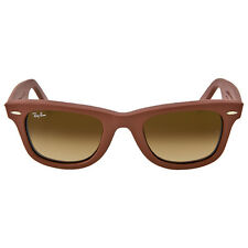 Ray Ban Wayfarer Leather Brown Gradient Brown Frame Sunglasses