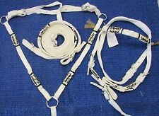 D.A. Brand Horse Size White Nylon Bridle Set w/Breast Collar and Rawhide Accents