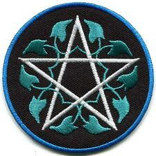 Pentagram pagan pentacle wicca white witchcraft applique iron-on patch S-1363