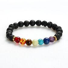 Black Lava Stone & Chakra Style Bead Bracelet with Velvet Gift Bag