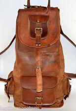 20'' Handmade Genuine Leather Rucksack Backpack School Bag College Travel Brown