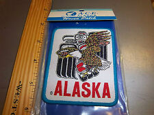 Old Alaska Woven cloth iron on patch,Tribal Eagle & Bald Eagle design, beautiful