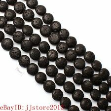 12mm Pretty Natural Black Lava Rock Coin Shape Gemstone Loose Beads Strand 15""
