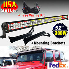 """Cool White 52"""" 300W LED Light Bar+Mounting Brackets for Jeep TJ Wrangler+Wiring"""